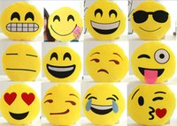 Wholesale New Styles cm Round Soft Emoji Smile Emoticon Cushion Pillow Stuffed Doll Plush ToysChristmas gifts Emoji Pillows