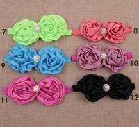 Wholesale 20pcs big satin ribbon rose shabby chiffon flowers pearl rhinestone decoration baby headwear kids headband