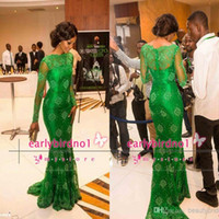 Wholesale 2015 New Arrival Red Carpet Celebrity Miss Nigeria Mermaid Long Sleeves Green Lace Celebrity Inspired Dress Formal Evening Dresses BO5555