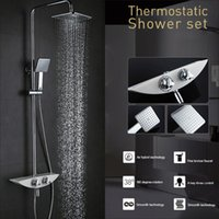 Wholesale Wall Mounted Brass Thermostatic Chrome Shower Panel Faucet Bathroom Set Hand Shower Head with Precise Temperature Adjustment