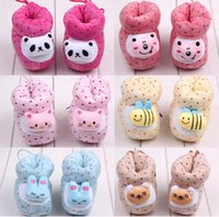 Wholesale Children s shoes Winter Infant First Walker Shoes Baby Cotton Shoes kids keep warm prewalker Baby animal shoes WD1183