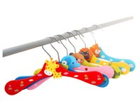 Wholesale Children Cartoon Wooden Clothes Rack Lovely Animal Home Storage Holders Baby Colorful Thick Wood Racks