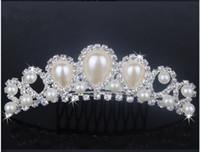 Wholesale 2015 New Prom Wedding Pearls Tiaras Diamond Cryatal Empire Crown Bridal Tiara Headband Hair Jewelry Accessories
