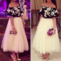 balck tea - Two Pieces Arabic African Long Prom Dresses A Line White Balck Chiffon Plus Size Dubai Middle East Sexy Formal Party Evening Gowns