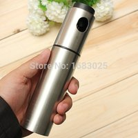 Wholesale Silver Stainless Steel Olive Pump Spraying Oil Bottle Sprayer Can Oil Jar Pot Tool Can Pot Cookware Kitchen Tools order lt no track