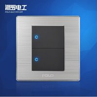 Wholesale POLO Wall Light Switch Panel Gang Way Champagne Black Push Button LED Switch A V