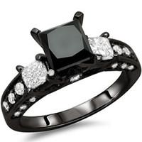 Wholesale Size Black Rhodium Wedding Ring Princess Cut CZ Engagement Propose Anniversary Cocktail