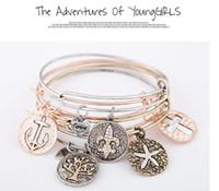 Wholesale Fashion Love Bracelets18K Gold Filled Metal Coin Pendants Bangle Bracelets Adjustable Charm Bracelets Imitation of Alex and Ani EH159
