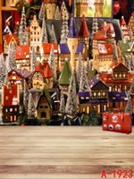 Wholesale 200cmx150cm vinyl photography backdrops Cartoon town house suitcase christmas backdrops photography WSL