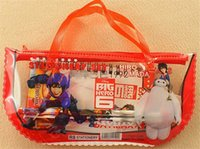 Wholesale 2015 Hot sell Big hero stationary one value set pencil bag note book pen Eraser student used