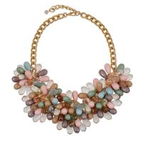 best bead store - Luxury Latest Designe Beads Necklace Colorful Water Drop Pink Green Lucency Bead Choker Necklace best sales in small store