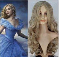 hair fall - 2015 New Movie Cinderella Hairpiece Girls Hair Wigs Cartoon Cosplay Girls Hair Wear Long Wig Fall Hair Piece