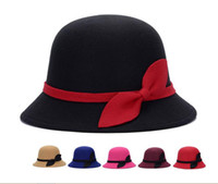 black felt hat - 2016 Fashion womens hats elegant bowler derby trilby leaves bowknot fedoras girls felt cap blue red pink vintage hats for women sun caps