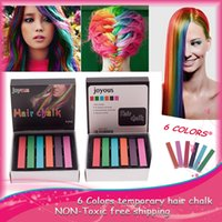 Wholesale 6 Colors Easy Temporary Hair Chalk Non toxic Hair Dye Temporary Soft Hair Pastels Kit Colors Chalk