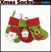 Wholesale Cute Santa Claus Elk Snowman Pattern Mini Christmas Socks Gift Pouch bags for Christmas Tree Xmas Decor Supplies Christmas Decoration Props