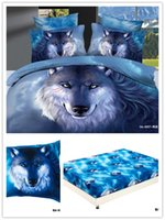 Wholesale pieces cotton d bedding sets animals blue wolf double queen king fitted sheet comforter cover pillowcase bed set