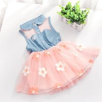 baby jeans dress - 2015 summer Baby Girls sleeveless dress Elastic Waist Jeans Dress Kid Denim Flower Princess hot sale Tulle Dress white pink choose