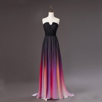 Wholesale 2015 Lily Collins Vestidos Elie Saab New Gradient Strapless Ombre Chiffon Prom Dress