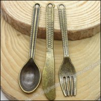 Vintage Charms gros-Mix Spoon Knife Constatations Bijoux Fork Pendant Antique bronze en alliage de zinc Fit Bracelet Collier de bricolage en métal