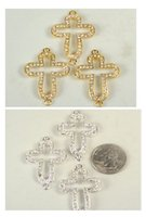 Wholesale 3Pcs X35mm Silver Gold Plated Rhinestone Sideways Pave Cross Conncetors with Crystal Curved for Bracelets Findings Z112