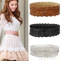 Wholesale Womens Vintage PU Leather Hollow Flowers Lace Bowknot Wide Waist Waistband Belts PI