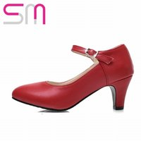 Wholesale Fashion Chunky Heel Mary Jane Pumps Shoes For Women Casual Dress Elegant Fashion Bukle Strap Summer Shoes