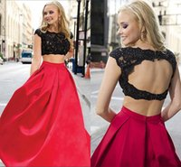 Cheap Black Lace 2 Two Pieces Prom Dresses 2015 Fashion Cap Sleeves Beaded Crop Top Cutout Waist Vintage Long Pageant Dress Party Evening Gowns