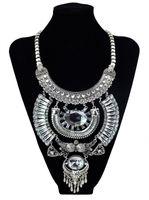 bib necklace designs - Vintage Silver Big Pendant Large Crystal Choker Bib Maxi Collar Statement Necklace Bohemian Gypsy Brand Design Turkish Jewelry