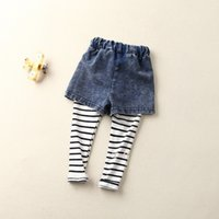 Wholesale sale baby girls clothes Shorts Jeans tights Pants leggings kids clothing fashion Fake two piece Striped trousers