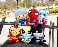 batman soft toys - 12pcs the avengers plush toy American anime superhero spiderman batman q version stuffed dolls soft toys movie action figures the avengers