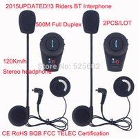 Wholesale 2015UPDATED Riders BT Interphone Bluetooth Intercom Moto Motorcycle Helmet Bluetooth Headset Full Duplex intercomunicador bluetooth