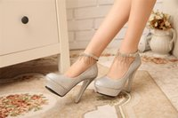 Cheap Pair Stiletto Heel Wedding Bridal Shoes 12cm Heels Rhinestone Tassels Decor Round Toe Bride Ankle Strap Shoes Ladies Prom Dress Pumps
