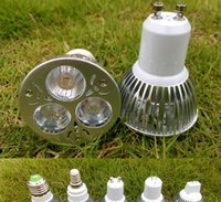 Wholesale 3W GU10 E27 MR16 E14 GU5 Base LED Bulb Spotlight x1W Spot Light Bulbs Lamp leds V V GU Spotlights Warm white Cool white CE