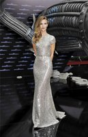 Wholesale Naeem Khan Red Carpet Celebrity Dresses Spring Silver Sequin Backless Evening Gowns Long Sheath Prom Dresses with Sash