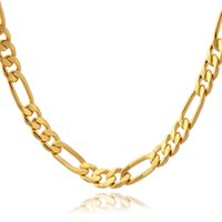 Gold Plate/Fill 18k gold chain for men - 18K Real Gold IP Plated Figaro Necklace Chains For Men High Quality Gold Filled African Necklaces MM Factory YN1041
