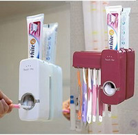 Toothbrush Holders automatic toothpaste - Automatic Easy to Use Touch Me Toothpaste Dispenser with Toothbrush Holder Set