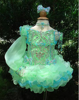 christmas mini lights - 2015 Pretty Flower Girls Dresses One Sleeves Toddler Mini Infant Cupcakes Organza Ball Gown Little Kid Wedding Pageant Dresses
