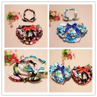 Wholesale colors baby girl s soft ruffle cotton bloomer floral headband year baby diaper cover summer baby clothes