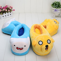 house slippers men - Anime Cartoon Adventure Time Finn Jake Plush Shoes Home House Winter Slippers for Children Women Men
