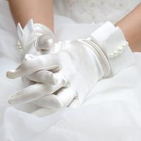 wedding dress ribbon - Satin Short Wedding Bridal Gloves Pearls White Ivory Full Fingers Fall Winter Wedding Accessories for Evening Prom Party Dresses BG011