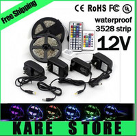 Wholesale X50pcs SMD M Leds a roll RGB led strips Key IR remote controller A power supply EU US plug