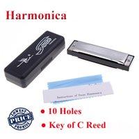 Acheter Harmonica diatonique c cygne-Gros-Swan 10 trous clef diatonique de C Reed Melodica acier inoxydable harmonica blues Instrument de musique avec Silver Case or