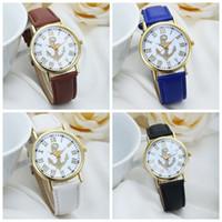 anchor watch - New Arrival Hot Sale geneva Women s Fashion PU Leather Roman Numerals Anchor Analog Quartz Wrist Watch