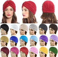 hat band - New Arrivals Women Lady Stretchy Polyester Turban Head Wrap Hat Band Bandana Hijab Pleated Indian Styles Caps PX71