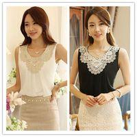 Cheap 2014 White Chiffon Sleeveless Vest Folds Casual Kimono Women Blouses Clothing Plus Size Renda Dudalina Lace Crochet Shirts