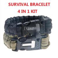 Wholesale New Survival Gear Kit Magnesium Flint Fire Starter Striker Strands In Outdoor Sport Emergency Survival Kit Free Ship