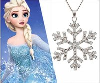 best snowflakes - New Arrival Frozen Necklace Crystal Snowflake Charm Chain Silver Necklace Fashion pendant Necklace Best gift For Girls