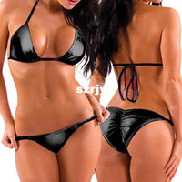 Sexy Costumes women leather sexy lingerie - sexy lingerie Europe and America lace leather bikini set swimsuits fitted bra T pants Support purchasing Support purchasing