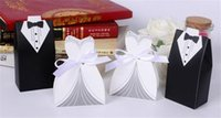 Wholesale White Wedding Gown and Black Suit Candy Boxes Wedding ceremony Favors Favor holders Gift box Candy Bag DHL