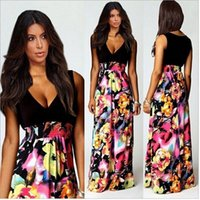 floor length maxi dress - 2015 New Fashion Women Summer Dress Sexy Deep V neck Floral Printing Casual Long Maxi Dress Bohemia Floor Length Party Dresses new arrive